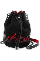Christian Louboutin Marie Jane Embellished Suede And Leather Bucket Bag Black
