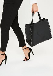 Missguided Black Rope Edge Tote Bag