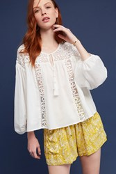 Anthropologie Tassels And Lace Peasant Blouse White
