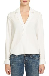 1.State Women's Surplice Crepe Blouse