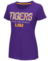 G3 Sports Women's Lsu Tigers Round The Bases Foil T Shirt Purple