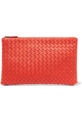 Bottega Veneta Intrecciato Leather Pouch Tomato Red