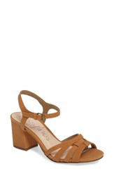 Sole Society Women's Paulina Block Heel Sandal Camel Nubuck Leather