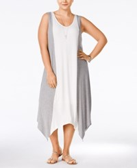 Ing Plus Size Colorblocked Handkerchief Hem Maxi Dress Heather Grey Off White