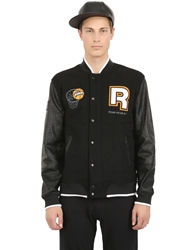 Reebok Wool And Nylon Pump Varsity Jacket Black