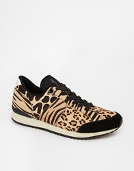 Religion Trainers In Animal Print Black