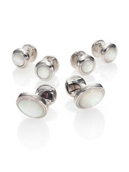 Saks Fifth Avenue Mother Of Pearl Stud And Cuff Link Set Silver
