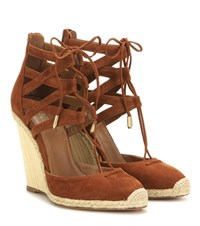 Aquazzura Belgravia 110 Suede Wedge Sandals Brown