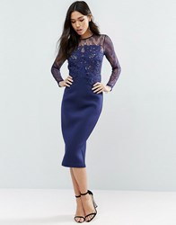 Asos Premium Scuba Long Sleeve Lace Pencil Dress Navy