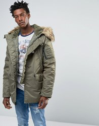Denim And Supply Ralph Lauren Parka With Faux Fur Hood In Green Olive