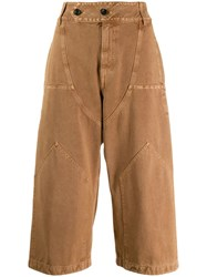Lanvin Wide Legged Cropped Trousers Neutrals