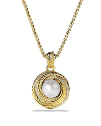 David Yurman Pearl Crossover Pendant With Diamonds In Gold On Chain Yellow Gold