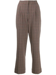 Essentiel Antwerp Checked Cropped Trousers Brown
