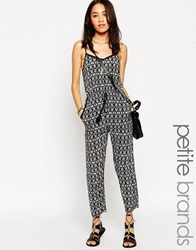New Look Petite Strappy Jumpsuit With Pattern Black