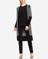 Vince Camuto Striped Open Front Cardigan Rich Black