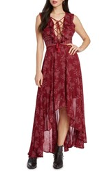 Willow And Clay Print High Low Maxi Dress Scarlet