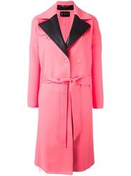 Versace Peaked Lapel Belted Coat Pink Purple