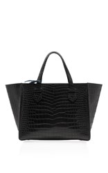 Moreau Medium Black Crocodile Skin Bregancon Top Handle Bag