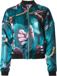 Andrea Crews Finger And Chain Print Bomber Jacket Green