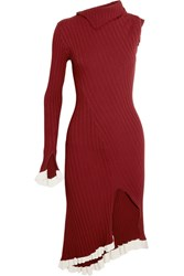 Esteban Cortazar Asymmetric One Shoulder Ribbed Stretch Knit Midi Dress Claret