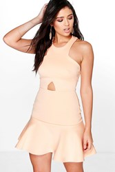 Boohoo Cut Out Waist Peplum Hem Skater Dress Apricot