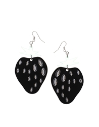 Monki Dora Strawberry Earrings Black