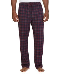 Nautica Lightweight Sueded Knit Checked Sleep Pants Shipwreck Burgundy