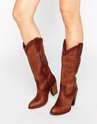 Frye Jackie Button Western Leather Heeled Knee Boots Cognac Soft Vintage Tan
