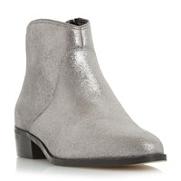 Dune Pearcey Long Point Ankle Boots Silver