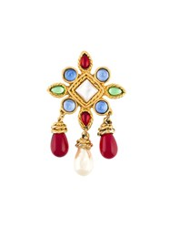 Chanel Vintage Poured Glass Brooch Multicolour