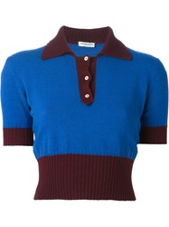 Yves Saint Laurent Vintage Cropped Polo Shirt Blue