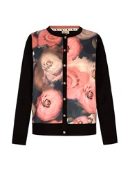 Yumi Flower Print Cardigan Black
