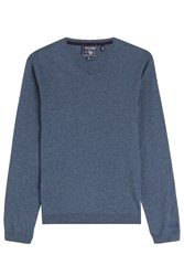 Woolrich Soft V Neck Cotton Pullover Blue