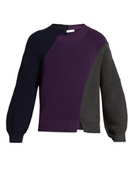J.W.Anderson Ribbed Knit Wool Sweater Purple Multi