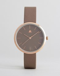Asos Lifestyle Cream And Rose Gold Clean Dial Watch Grey Rose Gold Multi