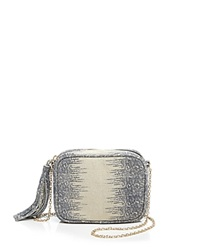 Lauren Merkin Crossbody Meg Ring Lizard Embossed Navy