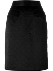 Chanel Vintage Quilted Skirt Black