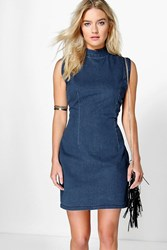 Boohoo High Neck Sleeveless Denim Indigo