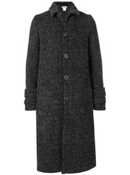 Hope Checked Long Buttoned Coat Grey