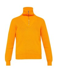 Prada Half Zip Cotton Sweater Orange