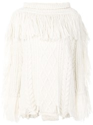 Philosophy Di Lorenzo Serafini Fringe Detail Sweater Polyamide Alpaca Virgin Wool White