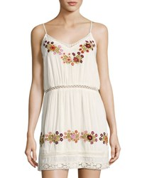 Tularosa London Embroidered Slip Dress Cream