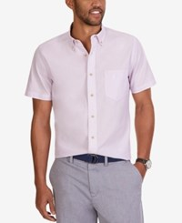 Nautica Men's Dobby Stripe Short Sleeve Shirt Lavendula
