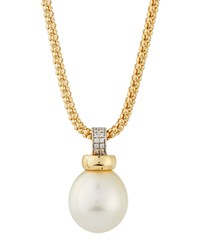 Belpearl 18K South Sea Pearl And Diamond Rope Pendant Necklace 15Mm