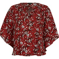 River Island Womens Red Floral Print Poncho Top
