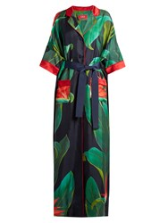 F.R.S For Restless Sleepers Eurinome Tropical Floral Print Silk Shirtdress Navy Print