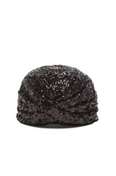 Saint Laurent Sequin Drape Turban In Black Metallics