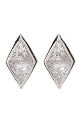 Nordstrom Rack Sterling Silver Bezel Triangle Cut Cz Stud Earrings Metallic