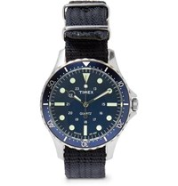 Timex Navi Harbor Stainless Steel And Nylon Webbing Watch Blue