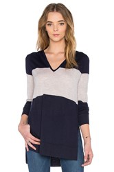 Autumn Cashmere Stripe V Neck Hoodie Navy